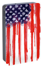 American Spatter Flag Portable Battery Charger by Nicklas Gustafsson