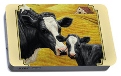 Holstein Cow And Calf Farm Portable Battery Charger by Crista Forest