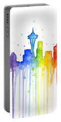 Seattle Rainbow Watercolor Portable Battery Charger by Olga Shvartsur