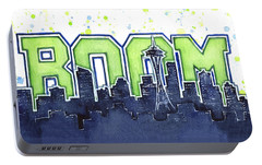 Seattle 12th Man Legion Of Boom Painting Portable Battery Charger by Olga Shvartsur