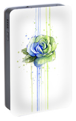 Seattle 12th Man Seahawks Watercolor Rose Portable Battery Charger by Olga Shvartsur
