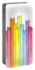 Cat Rainbow Pattern Portable Battery Charger by Olga Shvartsur