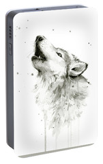 Howling Wolf Watercolor Portable Battery Charger by Olga Shvartsur