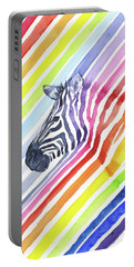 Rainbow Zebra Pattern Portable Battery Charger by Olga Shvartsur