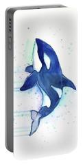 Kiler Whale Watercolor Orca  Portable Battery Charger by Olga Shvartsur