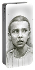 Stranger Things Eleven Upside Down Art Portrait Portable Battery Charger by Olga Shvartsur