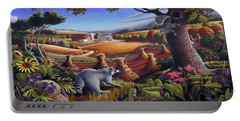Rural Country Farm Life Landscape Folk Art Raccoon Squirrel Rustic Americana Scene  Portable Battery Charger by Walt Curlee