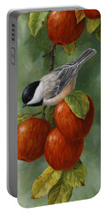 Bird Painting - Apple Harvest Chickadees Portable Battery Charger by Crista Forest