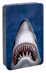 Jaws Great White Shark Art Portable Battery Charger by Walt Curlee