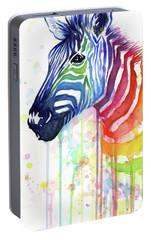 Rainbow Zebra - Ode To Fruit Stripes Portable Battery Charger by Olga Shvartsur