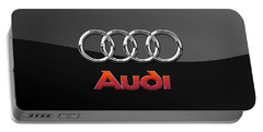 Audi 3 D Badge On Black Portable Battery Charger by Serge Averbukh