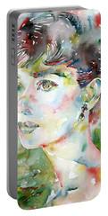 Audrey Hepburn  Watercolor Portrait.4 Portable Battery Charger by Fabrizio Cassetta
