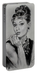 Audrey Hepburn Portable Battery Charger by Ylli Haruni