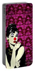 Audrey On Purple Portable Battery Charger by Jason Tricktop Matthews