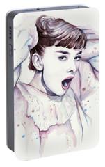 Audrey - Purple Scream Portable Battery Charger by Olga Shvartsur