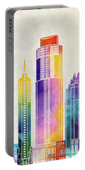 Austin Landmarks Watercolor Poster Portable Battery Charger by Pablo Romero