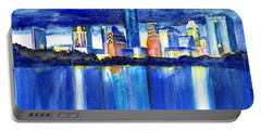 Austin Skyline At Sunset Portable Battery Charger by Carlin Blahnik