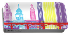 Austin Skyline Pop Portable Battery Charger by Pablo Romero