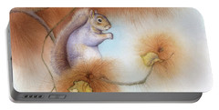 Autumn Come Softly Squirrel Portable Battery Charger by Tracy Herrmann