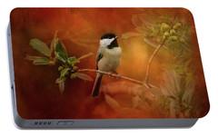 Autumn Day Chickadee Bird Art Portable Battery Charger by Jai Johnson