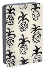 B And W Pineapple Print Portable Battery Charger by Anne Seay