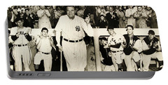 Babe Ruth At Yankee Stadium Portable Battery Charger by Doc Braham
