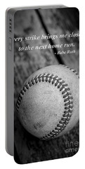Babe Ruth Baseball Quote Portable Battery Charger by Edward Fielding