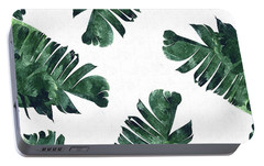 Banan Leaf Watercolor Portable Battery Charger by Uma Gokhale