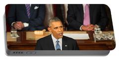 Barack Obama 2015 Sotu Address Portable Battery Charger by Science Source