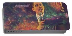 Barack Obama Quote Digital Artwork Portable Battery Charger by Georgeta Blanaru