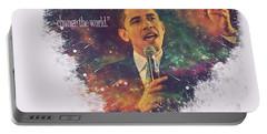 Barack Obama Quote Digital Cosmic Artwork Portable Battery Charger by Georgeta Blanaru