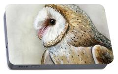 Barn Owl Watercolor Portable Battery Charger by Olga Shvartsur