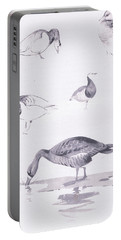Barnacle And White Fronted Geese Portable Battery Charger by Archibald Thorburn