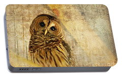 Barred Owl Portable Battery Charger by Lois Bryan