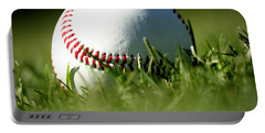 Baseball In Grass Portable Battery Charger by Chris Brannen