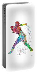 Baseball Softball Player Portable Battery Charger by Svetla Tancheva
