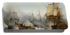 Battle Of Trafalgar Portable Battery Charger by Louis Philippe Crepin