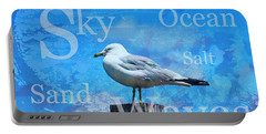 Beach Art Seagull By Sharon Cummings Portable Battery Charger by Sharon Cummings