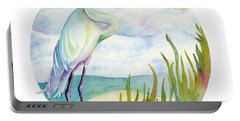 Beach Heron Portable Battery Charger by Amy Kirkpatrick