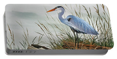 Beautiful Heron Shore Portable Battery Charger by James Williamson