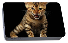 Bengal Kitty Stands And Hissing On Black Portable Battery Charger by Sergey Taran