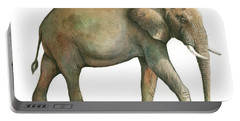 Big African Male Elephant Portable Battery Charger by Juan Bosco