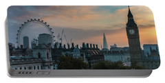 Big Ben Shard And London Eye Sunrise Portable Battery Charger by Mike Reid