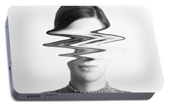Black And White Abstract Woman Portrait Of Restlessness Concept Portable Battery Charger by Radu Bercan