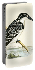 Black And White Kingfisher Portable Battery Charger by English School