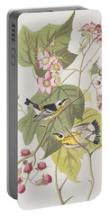 Black And Yellow Warblers Portable Battery Charger by John James Audubon