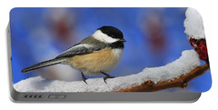 Black-capped Chickadee In Sumac Portable Battery Charger by Tony Beck