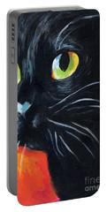 Black Cat Painting Portrait Portable Battery Charger by Svetlana Novikova