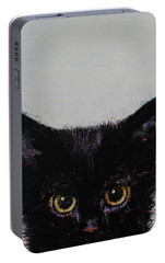 Black Kitten Portable Battery Charger by Michael Creese