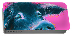 Black Pig Painting On Pink Background Portable Battery Charger by Jan Matson